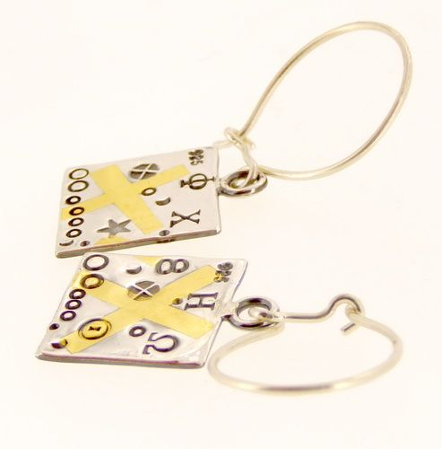 Square earrings handmade Keum boo embossed silver and gold